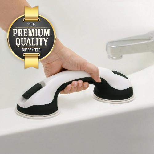 Eutuxia Shower Suction Cup Handle Grip. Balance Assist Grab Bar, Hand Rail Support for Elderly, Babies, Seniors & Handicapped. Safety in Showers & Bathtubs. Anti-Slip. New Improved Suction Cup.