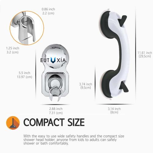 Eutuxia Shower Suction Cup Handle Grip and Shower Head Holder Bundle. Perfect for Safety in Showers & Bathtubs. Anti-Slip, Easy Setup and Reachability for Elderly, Children, Handicapped, and Seniors.