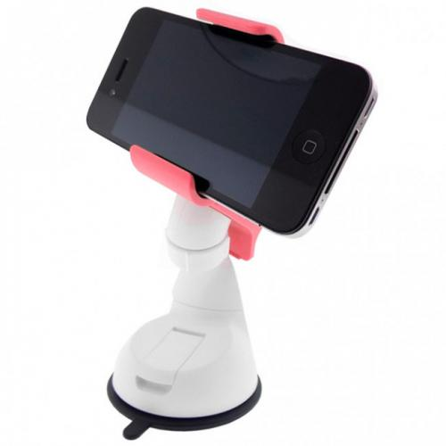 Melon Pink/ White Phone/ MP3 Car Dash/ Windshield Mount w/ 360 Degree Rotation - Mount Your Device (Even Galaxy Note Size) w/ 1 Hand!
