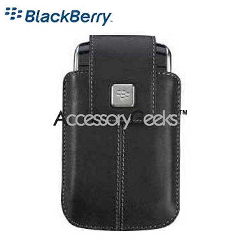 Original Blackberry Storm Leather Holster w/ Swivel Belt Clip - Black
