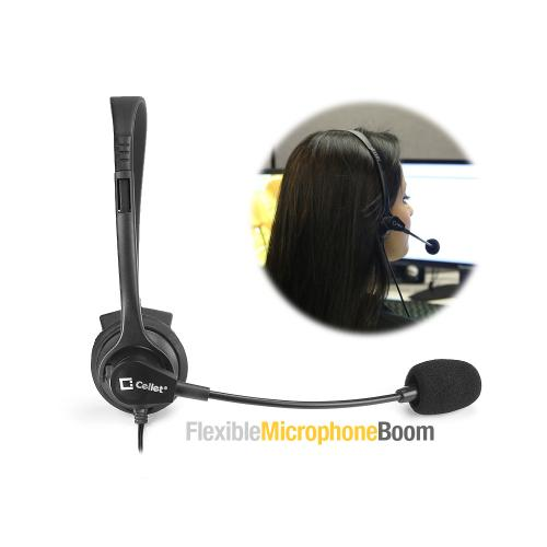 Operator-Style Wired Headset w/ Boom Mic 3.5mm [Black]