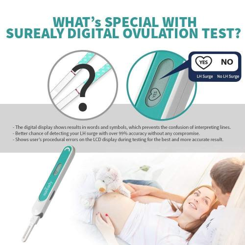 Surearly Digital Ovulation Test Kit Includes Easy to Use Reader & 20 Interchangeable Testing Strips. Maximize Chances of Natural Pregnancy. Over 99% Accurate in LH Surge Detection.