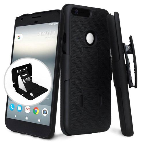 Google Pixel Case, [Black] Supreme Protection Slim Matte Rubberized Hard Plastic Case Cover with Kickstand and Swivel Belt Clip with Travel Wallet Phone Stand