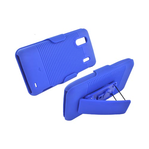 HTC EVO Design 4G Rubberized Hard Case w/ Holster Stand - Blue