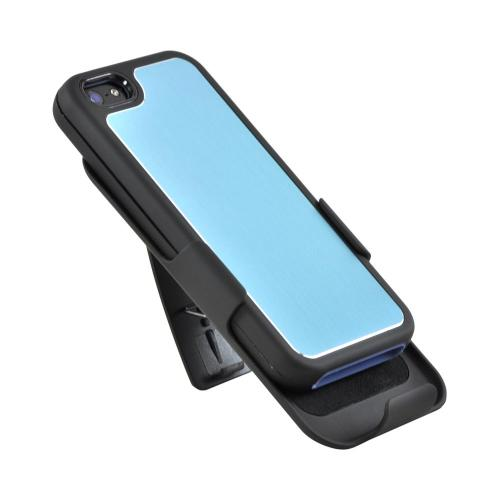 Apple iPhone SE / 5 / 5S Holster Case,  [Blue/ Black]  Supreme Protection Slim Matte Rubberized Hard Plastic Case Cover with Kickstand and Swivel Belt Clip