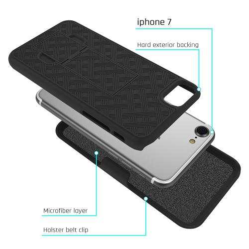 Made for Apple iPhone 8/7/6S/6 Holster Case, [Black] Supreme Protection Slim Matte Rubberized Hard Plastic Case Cover with Kickstand and Swivel Belt Clip by Redshield