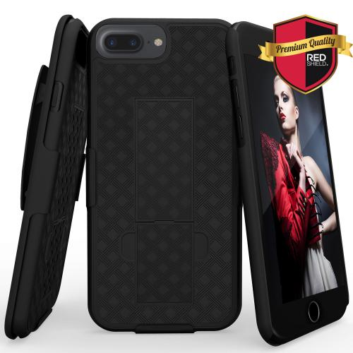 Apple iPhone 8/7/6S/6 Plus Holster Case, REDshield [Black] Supreme Protection Slim Matte Rubberized Hard Plastic Case Cover with Kickstand and Swivel Belt Clip with Travel Wallet Phone Stand