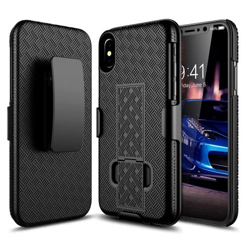 [REDshield] Apple iPhone X Holster Case, [Black] Supreme Protection Slim Matte Rubberized Hard Plastic Case Cover with Kickstand and Swivel Belt Clip