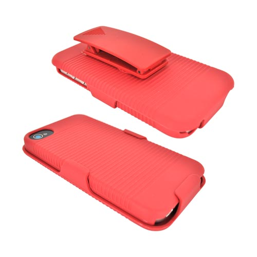 AT&T/ Verizon Apple iPhone 4, iPhone 4S Rubberized Hard Case Combo w/ Kickstand & Swivel Belt Clip - Red