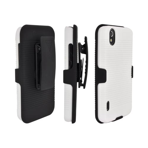 LG Marquee LS855 Rubberized Holster and Case Combo w/ Stand - Black/ White