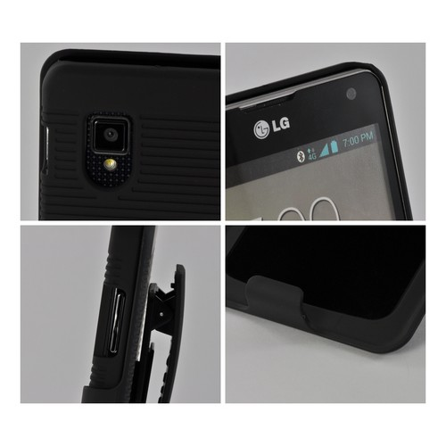 Black Rubberized Hard Case Holster Combo w/ Swivel Belt Clip & Kickstand for LG Optimus G (Sprint)