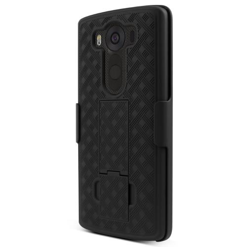 LG V10 Case,  [Black]  Supreme Protection Slim Matte Rubberized Hard Plastic Case Cover with Kickstand and Swivel Belt Clip