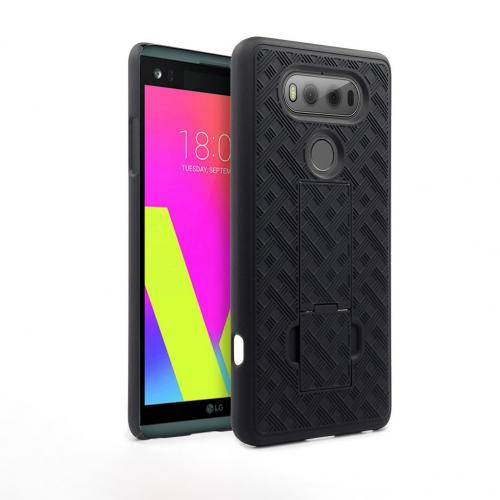 LG V20 Holster Case, REDShield [Black] Supreme Protection Slim Matte Rubberized Hard Plastic Case Cover with Kickstand & Swivel Belt Clip