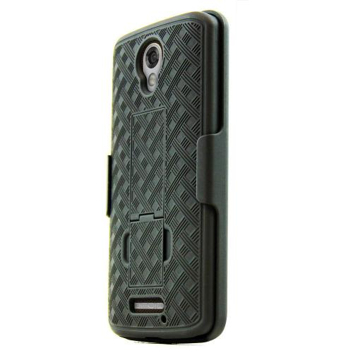 Motorola Droid Turbo 2 Holster Case, REDShield [Black] Supreme Protection Slim Matte Rubberized Hard Plastic Case Cover with Kickstand & Swivel Belt Clip