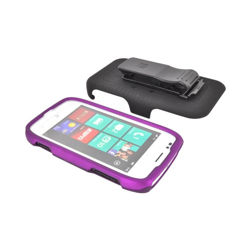 Premium Nokia Lumia 710 Rubberized Holster and Case Combo w/ Screen Protector, Swivel Belt Clip, & Stand - Black/ Purple