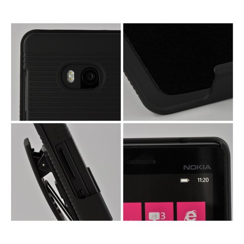 Black Rubberized Hard Case Holster Combo w/ Kickstand & Swivel Belt Clip for Nokia Lumia 810