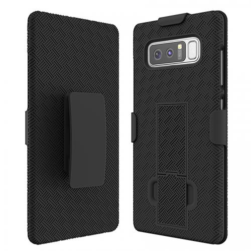 [REDshield] Samsung Galaxy Note 8 Holster Case, [Black] Supreme Protection Slim Matte Rubberized Hard Plastic Case Cover with Kickstand and Swivel Belt Clip