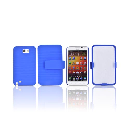 Samsung Galaxy Note Rubberized Hard Case w/ Holster & Kickstand - Blue