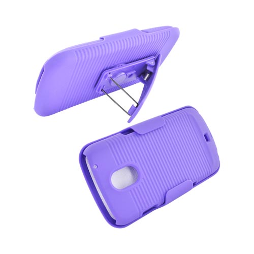 Samsung Galaxy Nexus Rubberized Hard Case w/ Holster Stand - Purple