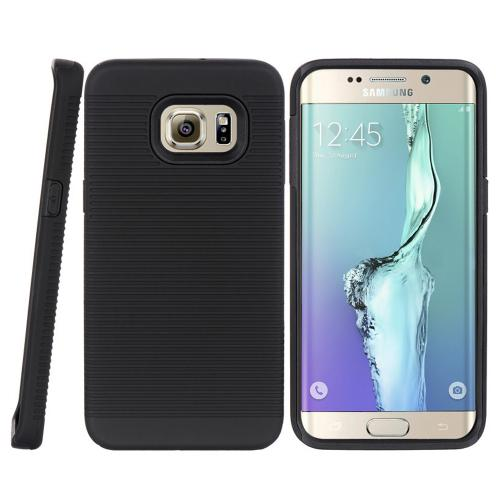 Samsung Galaxy S6 Edge Plus, [Black] Supreme Protection Slim Matte Rubberized Hard Plastic Case Cover with Kickstand and Swivel Belt Clip