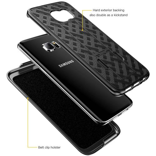 Samsung Galaxy S7 Edge Holster Case, REDshield [Black] Supreme Protection Slim Matte Rubberized Hard Plastic Case Cover with Kickstand and Swivel Belt Clip with Travel Wallet Phone Stand