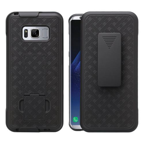 Samsung Galaxy S8 Plus Holster Case, REDshield [Black] Supreme Protection Slim Matte Rubberized Hard Plastic Case Cover with Kickstand and Swivel Belt Clip