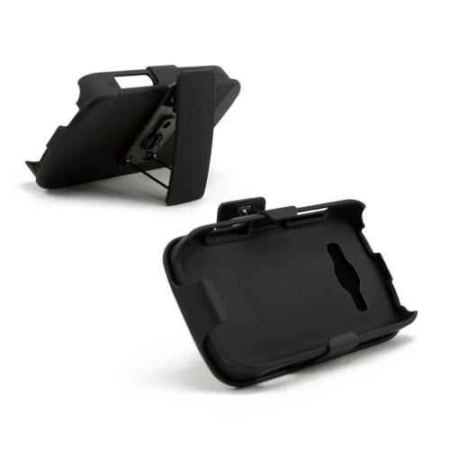 Black Rubberized Hard Case & Holster Combo w/ Kickstand & Swivel Belt Clip for Samsung Galaxy Ring/ Galaxy Prevail 2