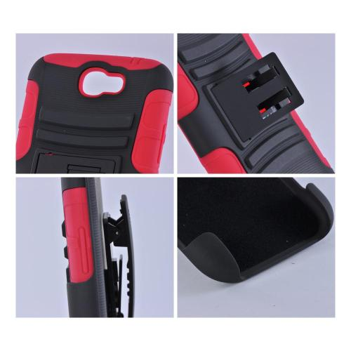Black/ Red Rubberized Hard Cover On Silicone Case w/ Stand & Holster Stand w/ Swivel Belt Clip for Samsung Galaxy Note 2