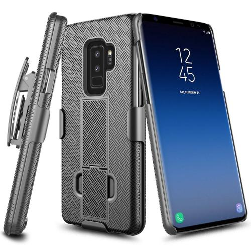 [Samsung Galaxy S9 Plus], [Black] Supreme Protection Slim Matte Rubberized Hard Plastic Case Cover with Kickstand and Swivel Belt Clip