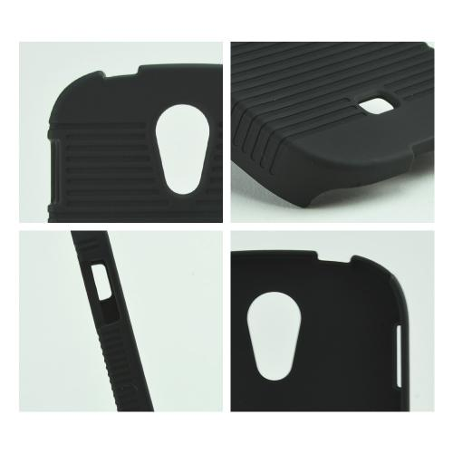 Black Rubberized Hard Case & Holster Combo w/ Kickstand & Swivel Belt Clip for Samsung Galaxy Light