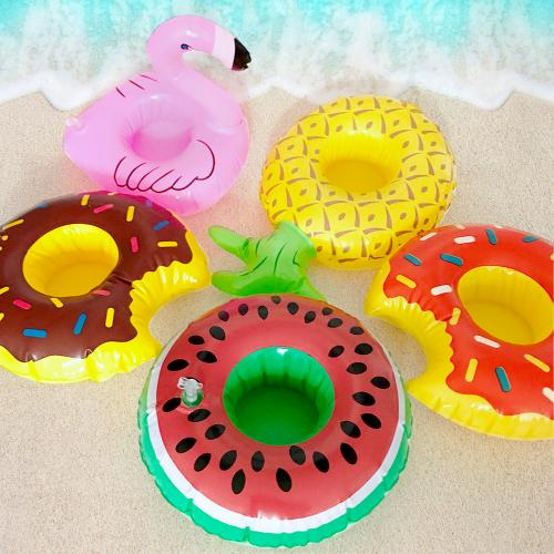 Tropical Pineapple Inflatable Pool Float and Pool Toy Drink Holder