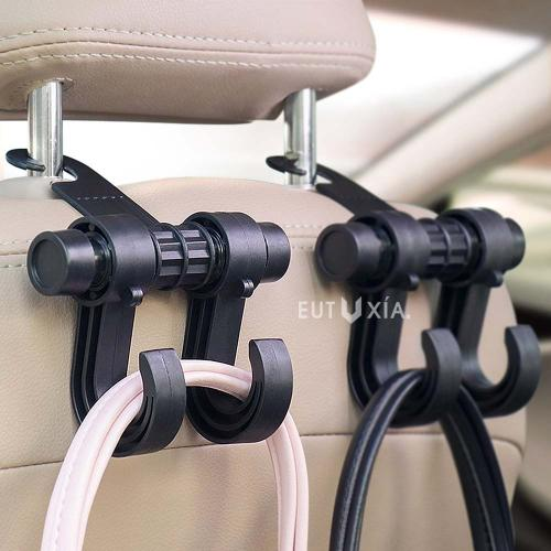 Multifunction Car Seat Hook, Double Vehicle Seat Back Car Hanger Hook [Black]
