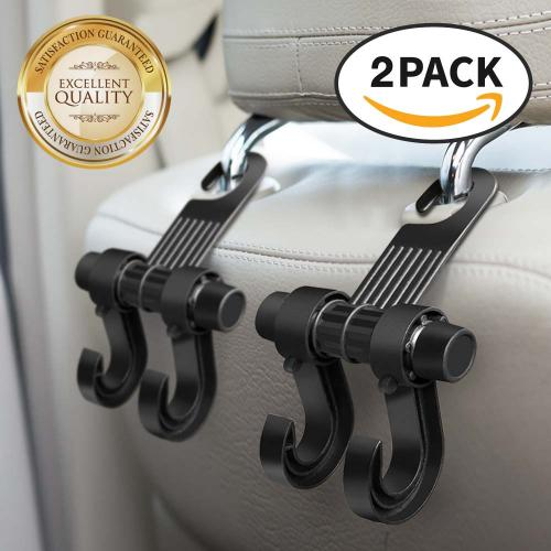 RED SHIELD Car Back Seat Headrest Hanger Hook. Heavy Duty Holder for Shopping Bags, Backpacks, Purses, Groceries, Clothes. Universal for All Vehicles. Convenient Organizer Holds Up to 15 lbs. [2 PK]