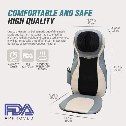 Hueplus HPC-11700 Premium Shiatsu Seated Back & Neck Massager with Heat and Vibration - Full Upper Lower Back Deep Kneading Pillow with Heated 3D Tension Technology FDA Registered