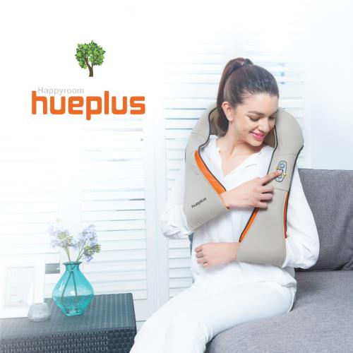 [Hueplus] HPM-100 Portable Shiatsu Neck & Shoulder Massager w/ Heat - 3D Tension Technology Pain Relief Treatment Best for Muscle Knots and Sore Muscles at Home Office Deep Kneading Soothing Therapy