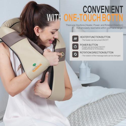 [Hueplus] HPM-200 Shiatsu Premium Back Wired Massager / Neck, Shoulder Massager - Deep Kneading Massage Pillow w/ Heated 3D Tension Technology - FDA Registered