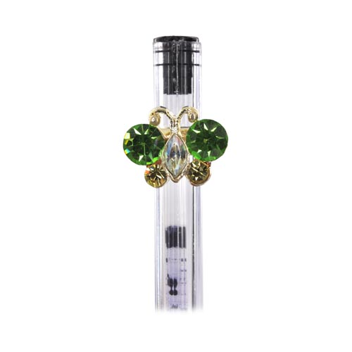 Shiny Butterfly Antenna / Pen / Pencil Ring Charm - green