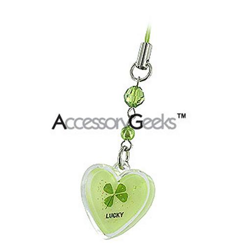 Luminous Heart with Clover Center Cell Phone Charm / Strap - green