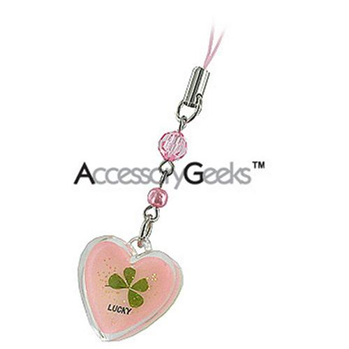 Luminous Heart with Clover Center Cell Phone Charm / Strap - pink