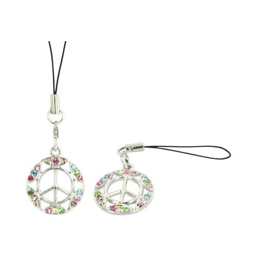 Peace Sign w/ Gemmed Border Cellphone Charm/ Strap - Multi Colored