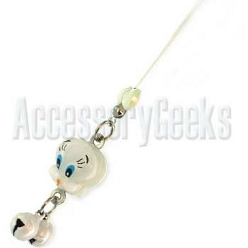 White Canary with Bells Cell Phone Strap, Charm