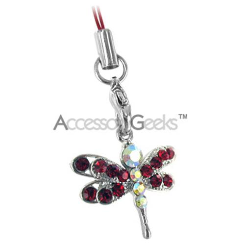 Dragonfly Cubic Stoned Cell Phone Charm/Strap - Red