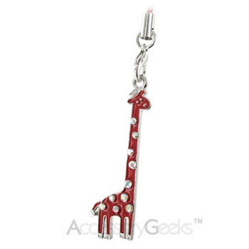 Cubic Stones Cute Giraffe Cell Phone Charm - red
