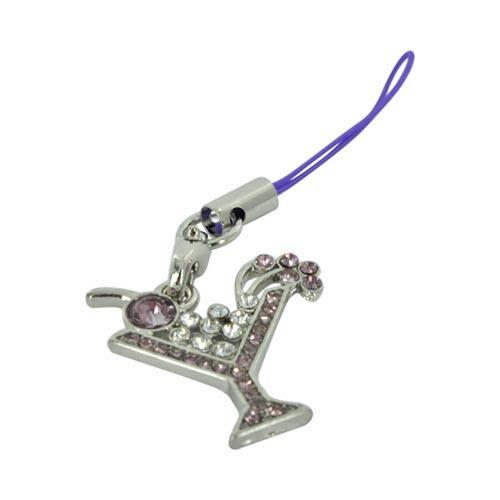 Martini Glass Cubic Stone Cell Phone Charm/Strap - purple