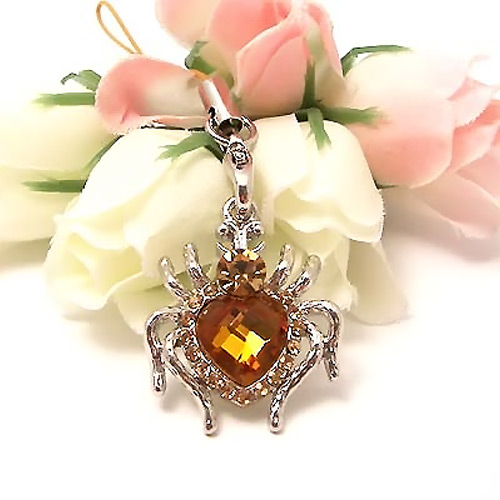 Heart Shaped Spider Cubic Stone Cell Phone Charm / Strap - Yellow