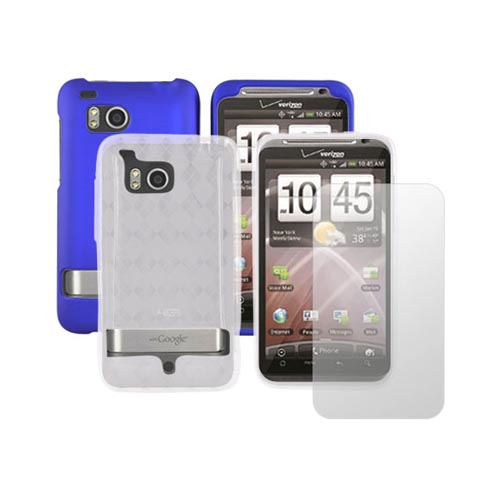 HTC Thunderbolt Blue Hard Case, Crystal Silicone Clear Argyle Case and Screen Protector Essential Bundle