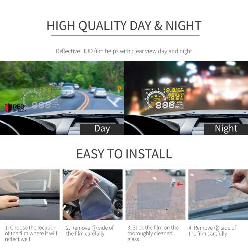 "RED SHIELD Universal Head Up Display HUD Reflective Windshield Film 7.5"" for All Car Makes and Models. Premium Quality High Definition (HD) Clarity Film. Compatible with All HUD Units and Smartphones."
