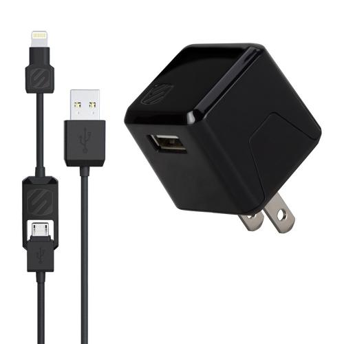 [SCOSCHE] strikeBASE pro - USB Wall Charger + 2-in-1 Charge & Sync Data Cable (Lightning and Micro USB) [Black]