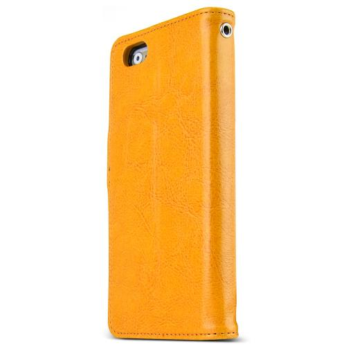 Apple iPhone 6/ 6S Case,  [Yellow] Classic Series Kickstand Feature Luxury Faux Saffiano Leather Front Flip Cover with Built-in Card Slots, Magnetic Flap