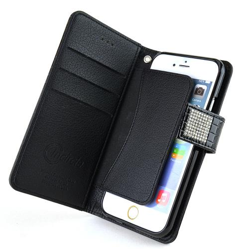 Made for Apple iPhone 6/ 6S Case,  [Black] Cubic Series Kickstand Feature Luxury Faux Saffiano Leather Front Flip Cover with Built-in Card Slots, Magnetic Flap by Redshield